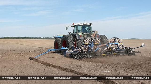 поле, трактор, посевная