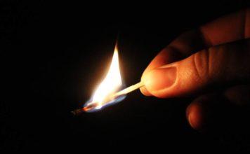 спичка, огонь,