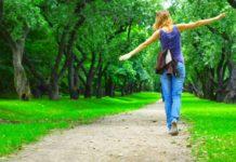 прогулка, девушка, гуляет, пешеход, пешком
