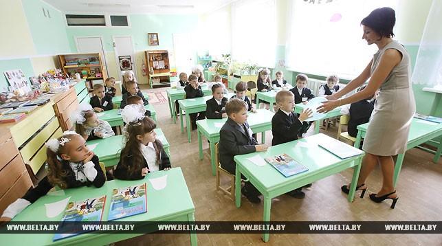 школьники, учительница, школа, первоклассники